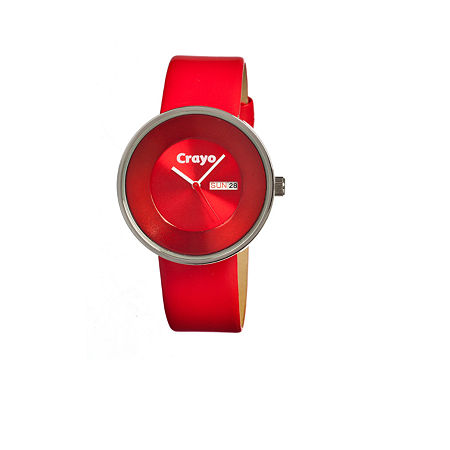 Crayo Unisex Button Red Leather-Band Watch With Day&Date Cracr0206, One Size , No Color Family