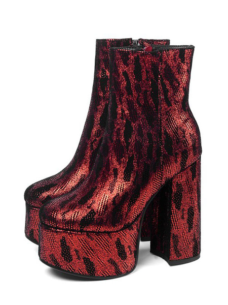 Milanoo Women Ankle Boots Bold Style Sequined Cloth Platform Chunky Heel 5.5 Booties
