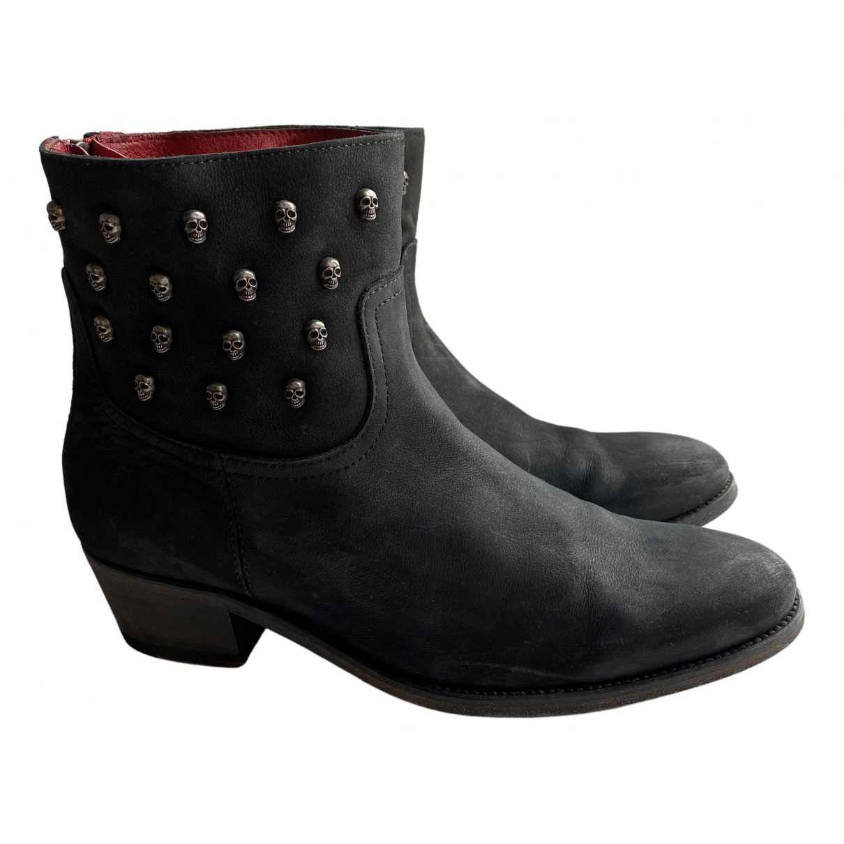 Zadig & Voltaire Teddy Black Leather Boots for Women 39 EU