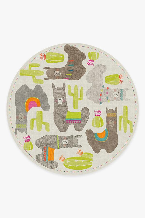 Washable Rug Cover | Llama Fun Natural Rug | Stain-Resistant | Ruggable | 8' Round
