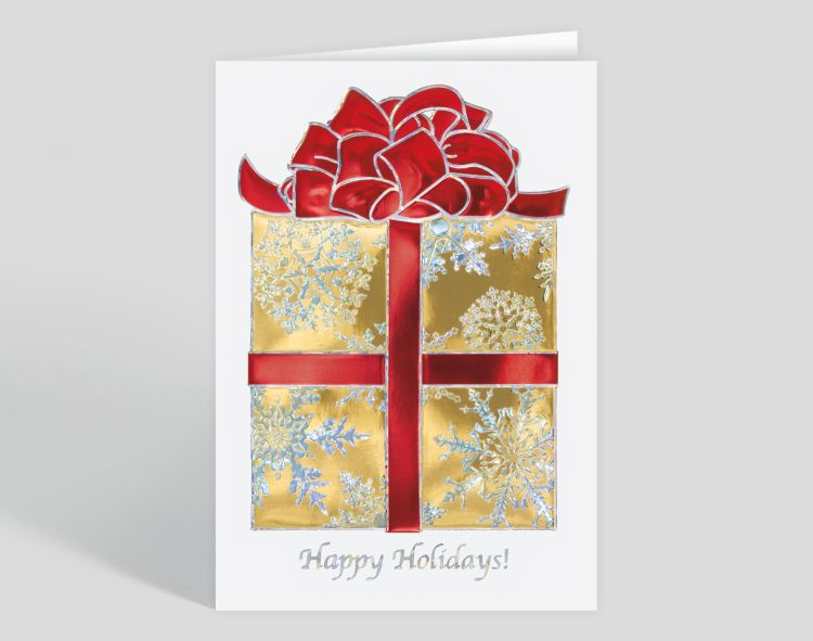 Tree and Ribbons Christmas Card - Greeting Cards