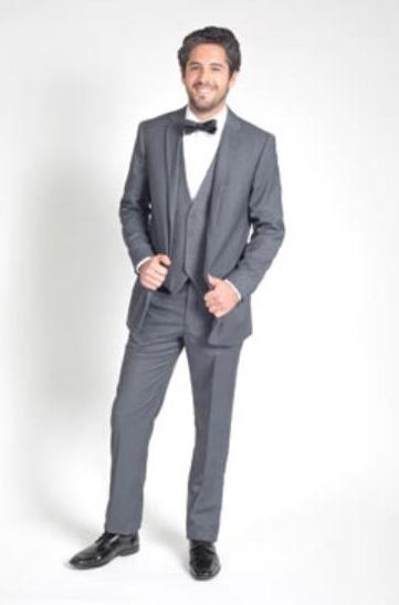 Mens 2 Button Charcoal Grey Notch Lapel Slim Fit Suit