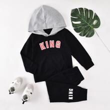 Toddler Boys Letter Graphic Hoodie & Sweatpants Set
