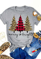 Merry And Bright T-Shirt Tee - Gray