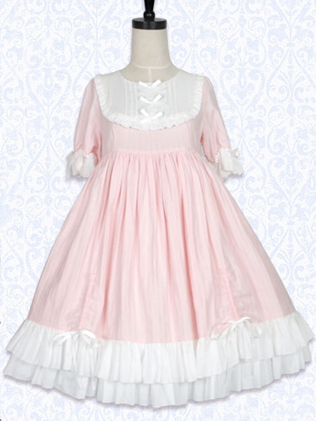 Milanoo Rococo Lolita OP One Piece Dress Round Neck Lace Trim Two Tone Ruffles Pink Lolita Dress