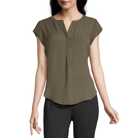 Liz Claiborne Womens Split Crew Neck Short Sleeve Blouse, X-large , Green