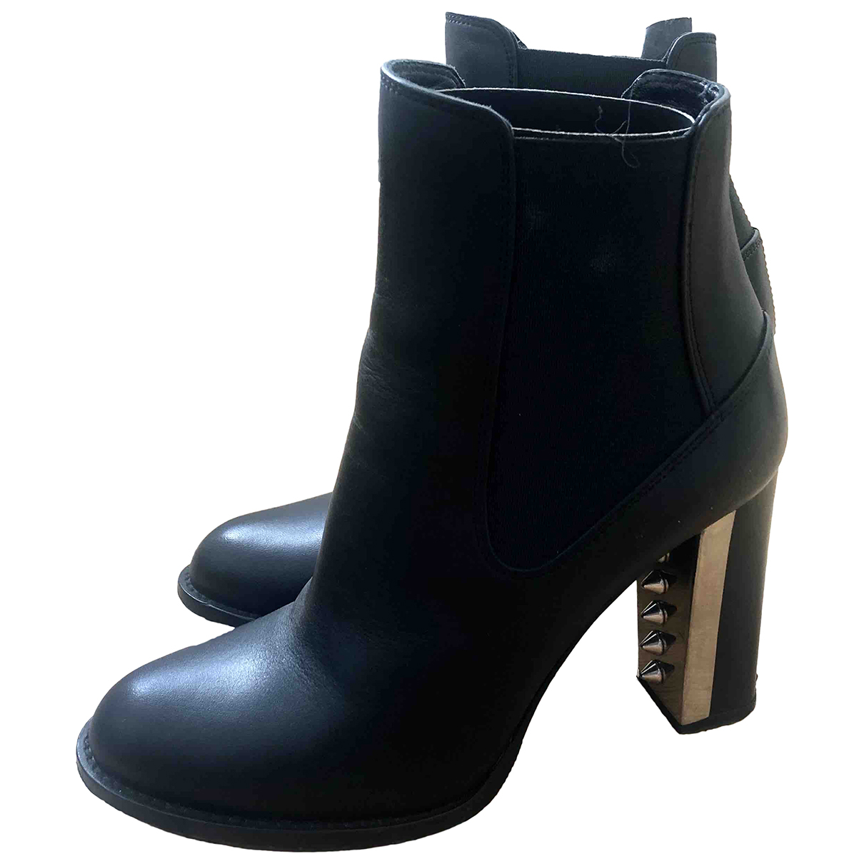Alexander Mcqueen \N Black Leather Ankle boots for Women 36 EU