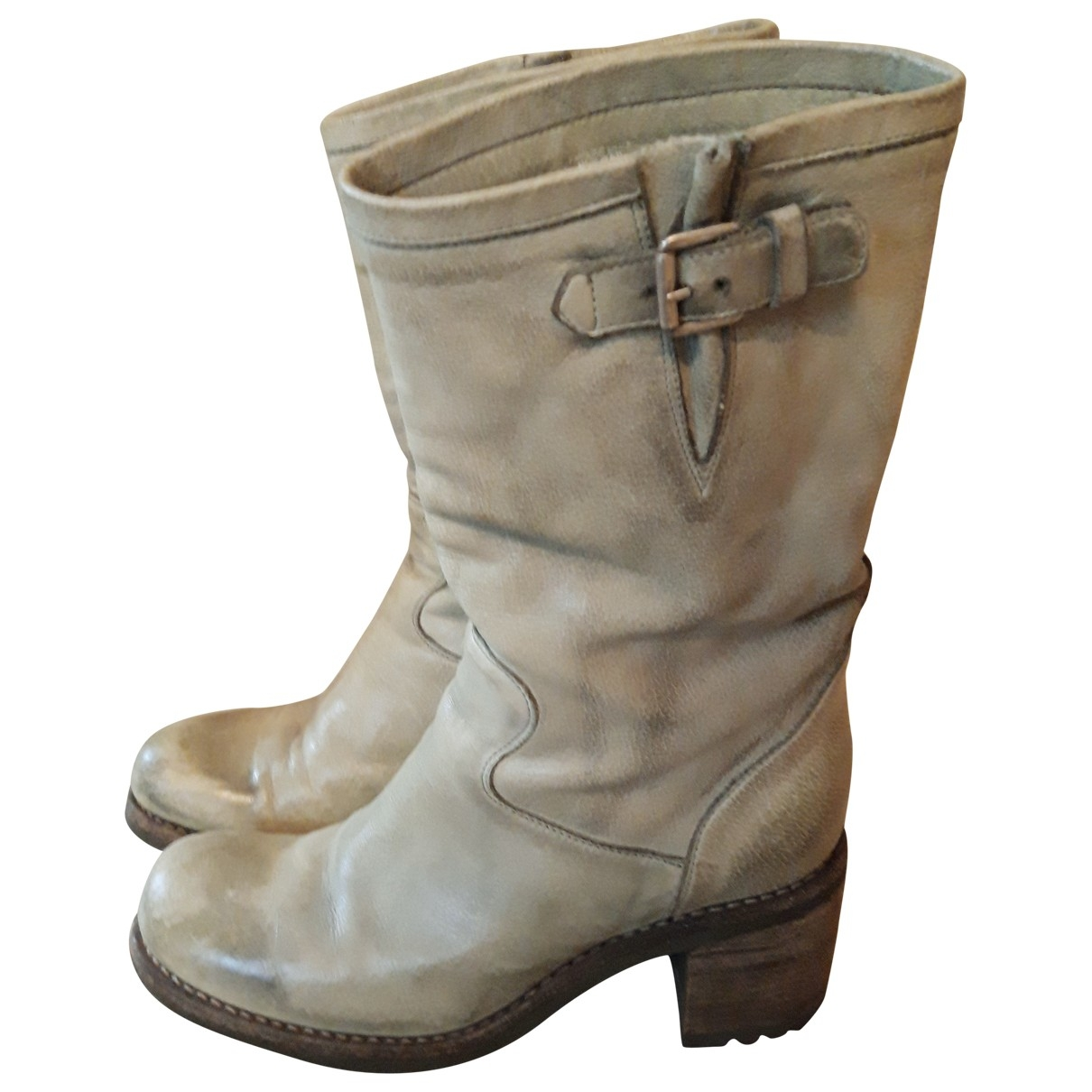 Free Lance \N Green Leather Boots for Women 37.5 EU