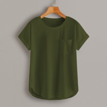 Solid Rolled Up Curved Hem Tee