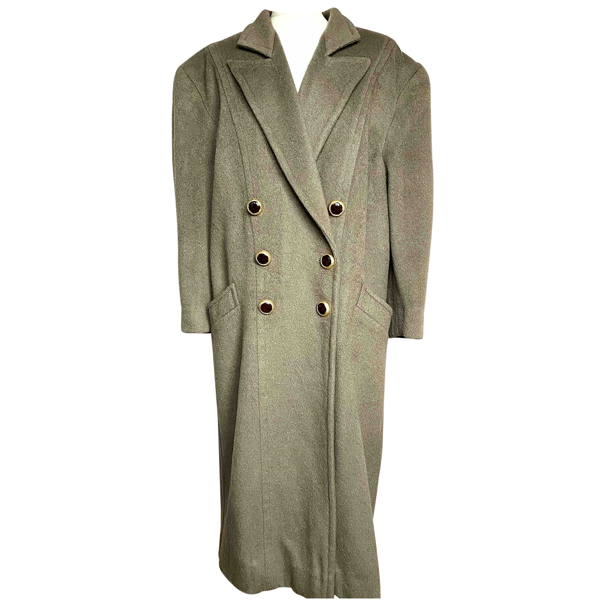 Non Signé / Unsigned Oversize Beige Wool coat for Women XXL International