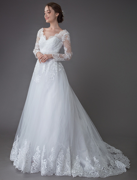 Milanoo Lace Wedding Dresses Ball Gown V Neck Long Sleeve Backless Princess Bridal Dress