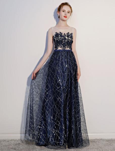 Milanoo Dark Navy Prom Dresses Lace Sequin Illusion Sleeveless Floor Length Evening Dress