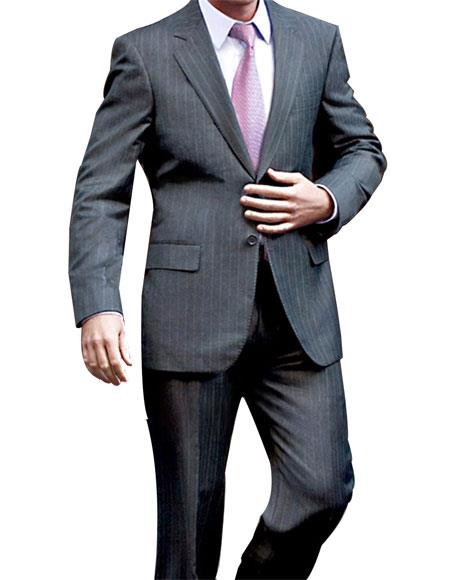 Men's 2 Button Single Breasted Charcoal Pinstripe Notch Lapel Suit
