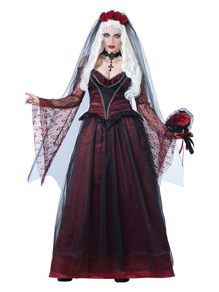 Milanoo Vampire Costume Halloween Corpse Bride Dark Red Women Dresses And Veil