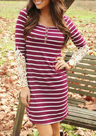 Striped Lace Splicing Mini Dress - Burgundy