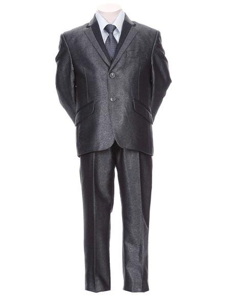 Boy's Toddler Kid Teen Trimmed Formal 5 Piece Blue Tuxedo Dress Suit