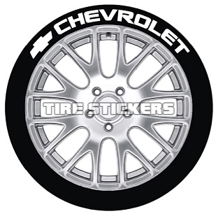 Tire Stickers CHVRLT-1718-1-4-W Permanent Raised Rubber Lettering 'Chevrolet' Logo - 4 of each -   17