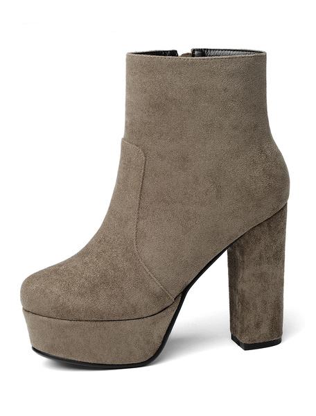 Milanoo Suede Ankle Boots Women Pointed Toe Rhinestones High Heel Booties