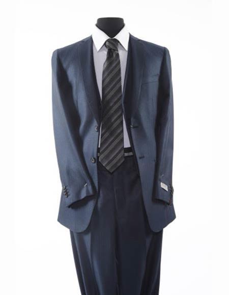 Tazio Brand Suit Men's 2 Button Navy Blue Textured Pattern Suit