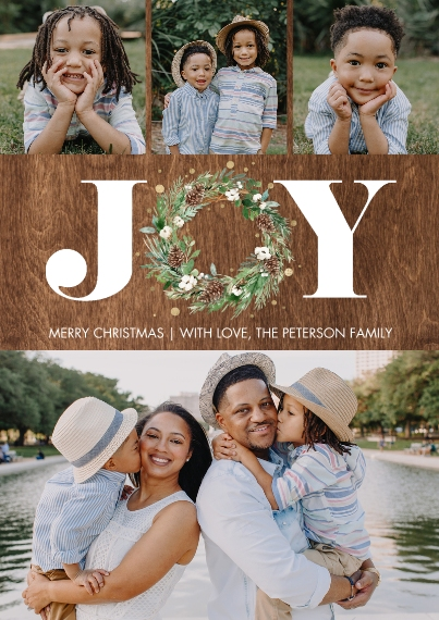 Christmas Photo Cards Flat Matte Photo Paper Cards with Envelopes, 5x7, Card & Stationery -Christmas Joy Wreath Gold by Tumbalina