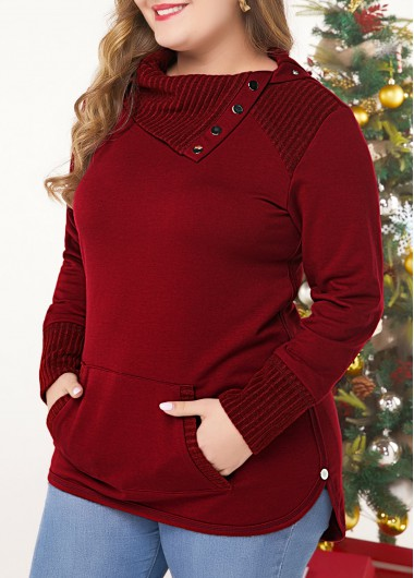 Christmas Women'S Wine Red Plus Size Tunic Holiday Sweatshirt With Kangaroo Pockets Xmas Solid Color Long Sleeve Burgundy Casual Top By - 0X