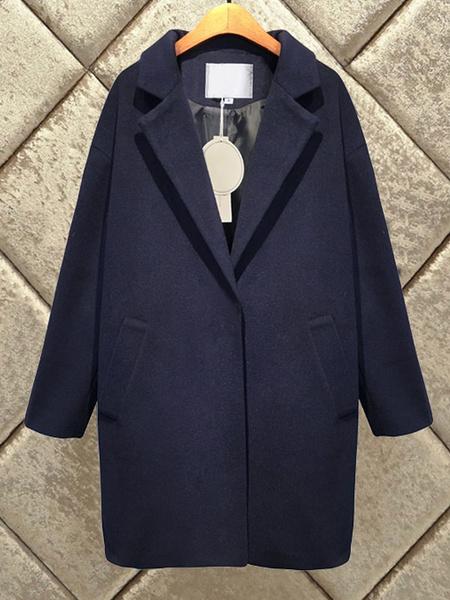Milanoo Women Winter Coat Long Sleeve Turndown Collar Cocoon Coat With Pockets