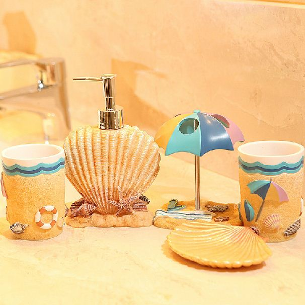 High Quality Mediterranean Style Five Pieces Bathroom Accessory