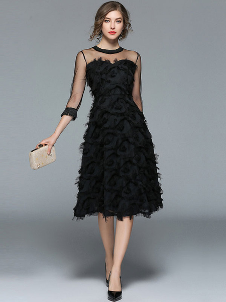 Milanoo Black Long Dress Women Crewneck Feathers Three Quarter Sleeve Tulle Midi Dress