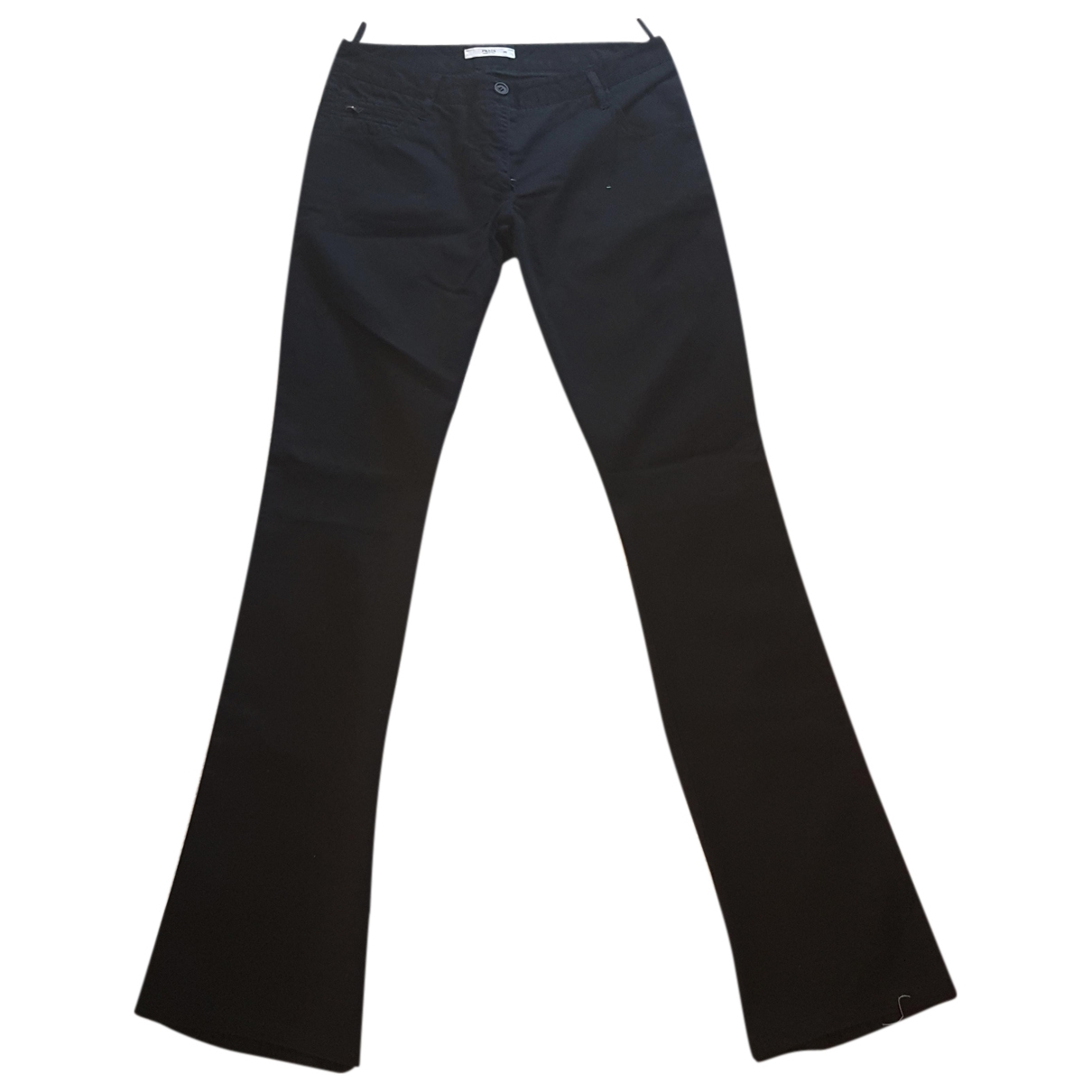 Prada \N Black Cotton Trousers for Women 44 IT