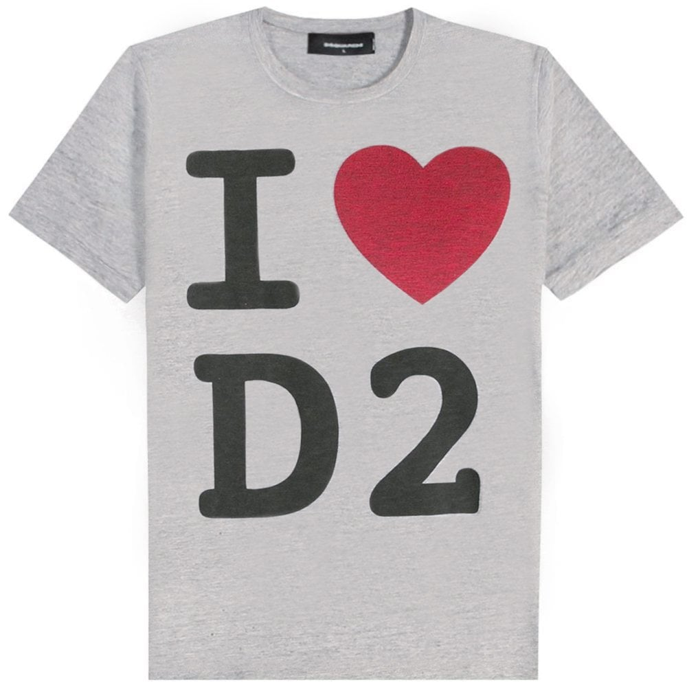 DSquared2 'I Love D2' Print T-Shirt Colour: GREY, Size: SMAL
