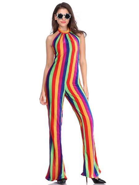 Milanoo 1970s Costume Backless Rainbow Jumpsuit Hippies Halloween Costume Red Retro Costumes