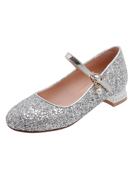 Milanoo Silver Low Heel Prom Shoes Glitter Block Heel Mary Jane Pumps