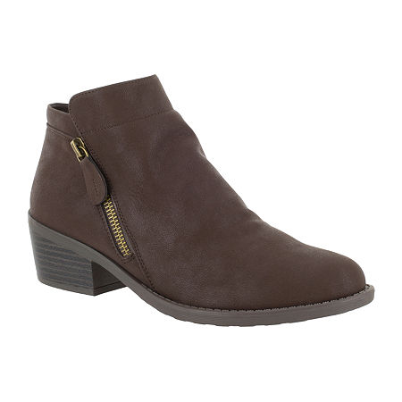 Easy Street Womens Gusto Booties Block Heel, 6 1/2 Medium, Brown