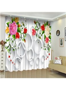 White Round Circles and Bright Colored Blossoms Living Room Custom 3D Curtain