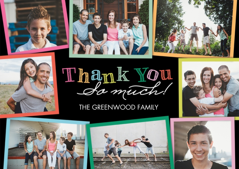 Thank You Cards 5x7 Cards, Premium Cardstock 120lb with Elegant Corners, Card & Stationery -Thank You Colorful Frames