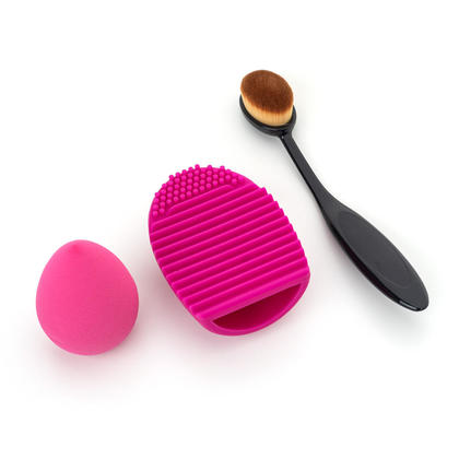 Lunar Year Sale 3-Pcs Cosmetic Set, Sponge & Curve Foundation Brush & Brush Cleaner