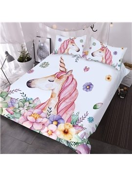 Pink Unicorn And Colorful Flowers Printed 3-Piece Comforter Sets
