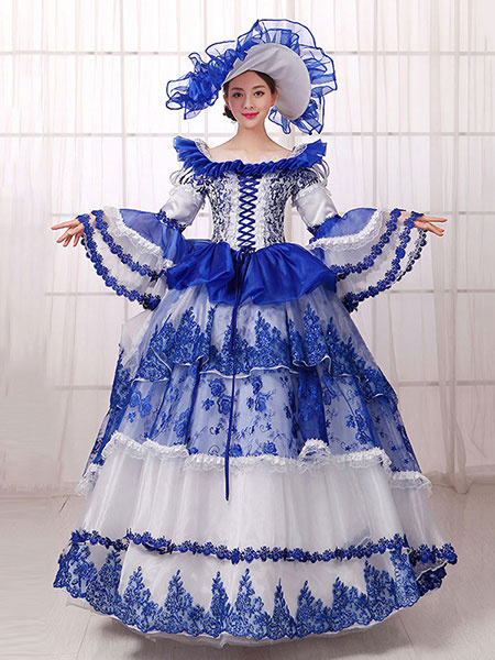Milanoo Victorian Dress Costume Women's Royal Blue Victorian era Clothing Ball Gown Long Sleeves Retro Costumes With Hat Halloween