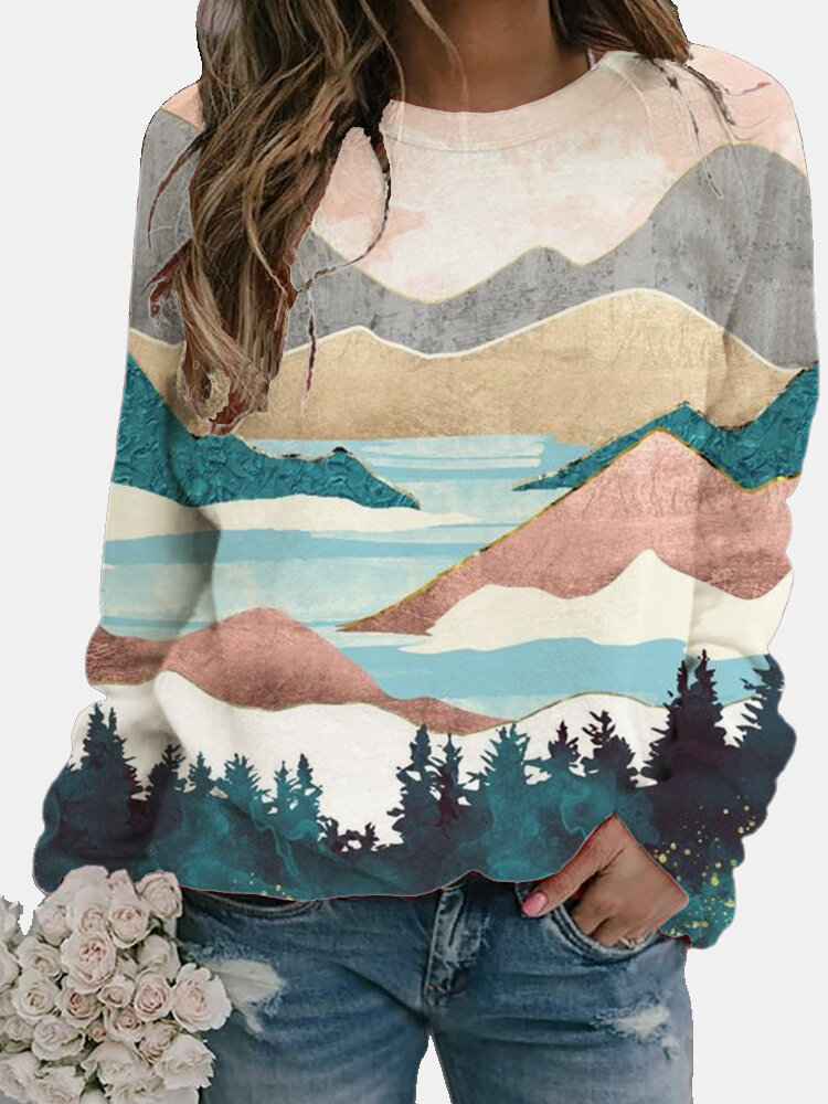 Painting Landscape Printed Long Sleeve O-neck Blouse