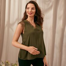 Maternity Eyelash Lace Trim Tank Top