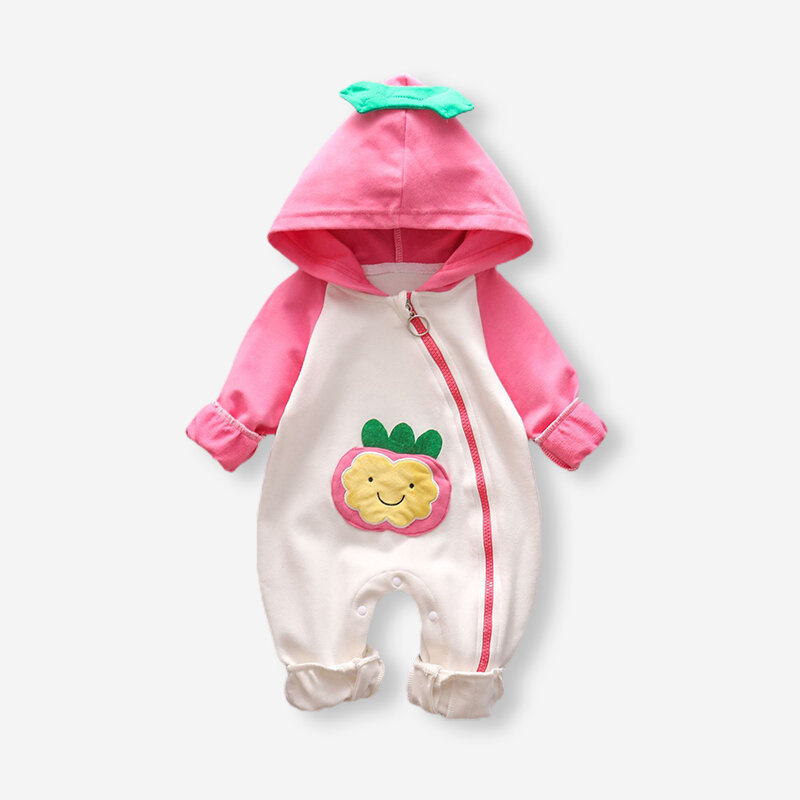 Baby Fruit Print Long Sleeves Hooded Warm Rompers For 3-18M