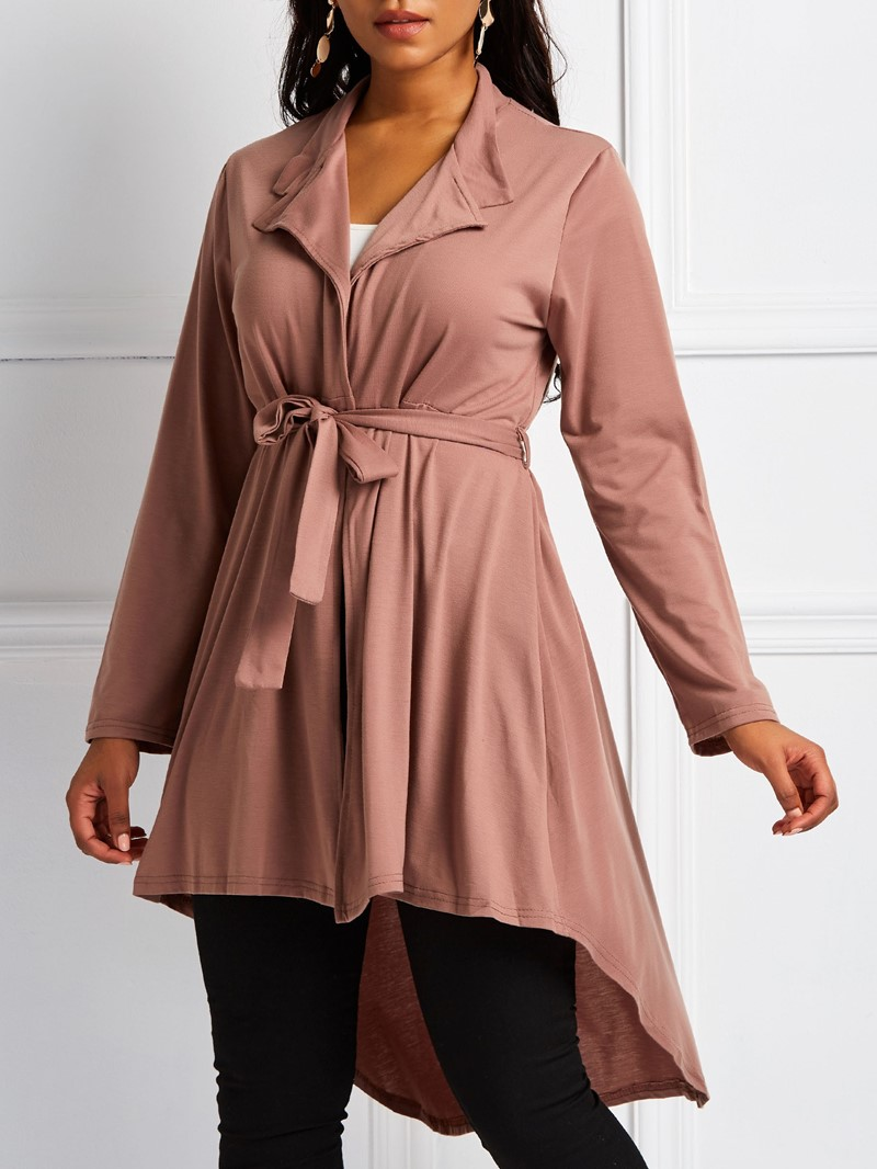 Ericdress Lace-Up Long Notched Lapel Regular Long Sleeve Trench Coat