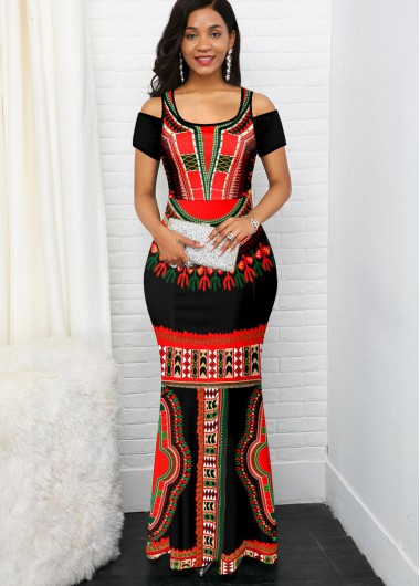 Cocktail Party Dress Cold Shoulder Short Sleeve Tribal Print Maxi Dress - XL