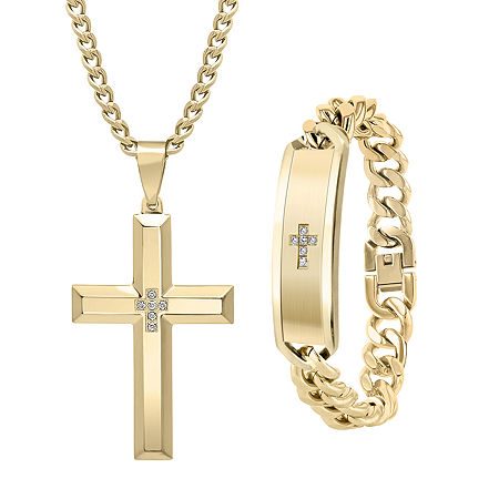 1/10 CT. T.W. Genuine White Diamond Stainless Steel Cross 2-pc. Jewelry Set, One Size , No Color Family