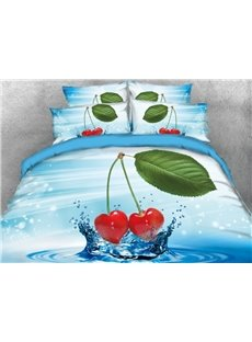 Vivilinen 3D Cherry on the Water with Leaf Printed 4-Piece Blue Bedding Sets/Duvet Covers