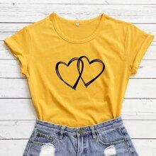 Double Heart Print Short Sleeve Tee