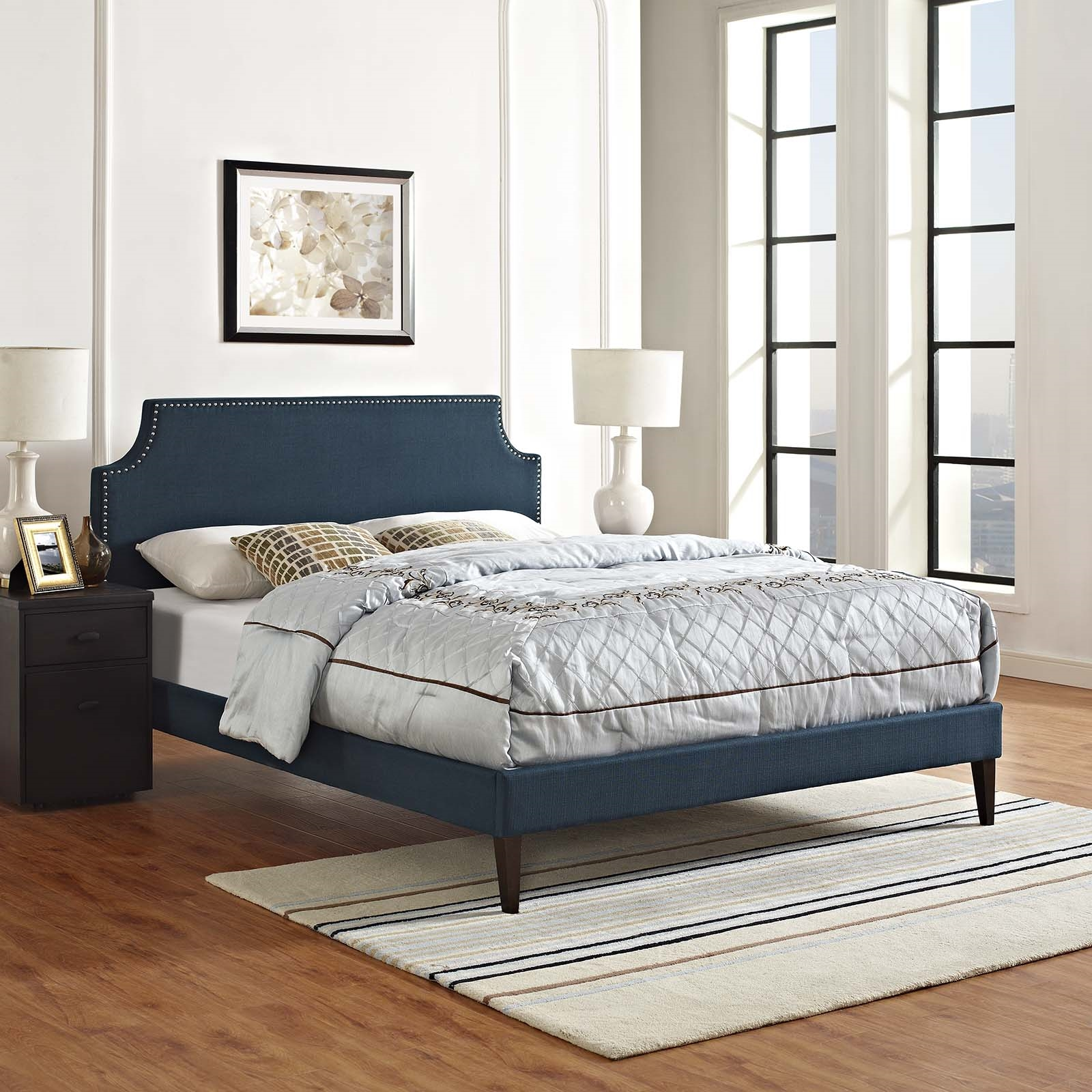 Corene Full Fabric Platform Bed with Squared Tapered Legs in Azure