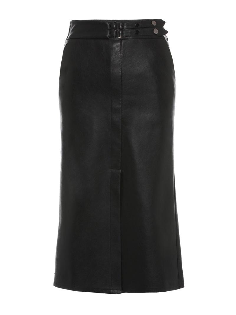 Ericdress PU Split Mid-Calf Plain Women's Pencil Skirt