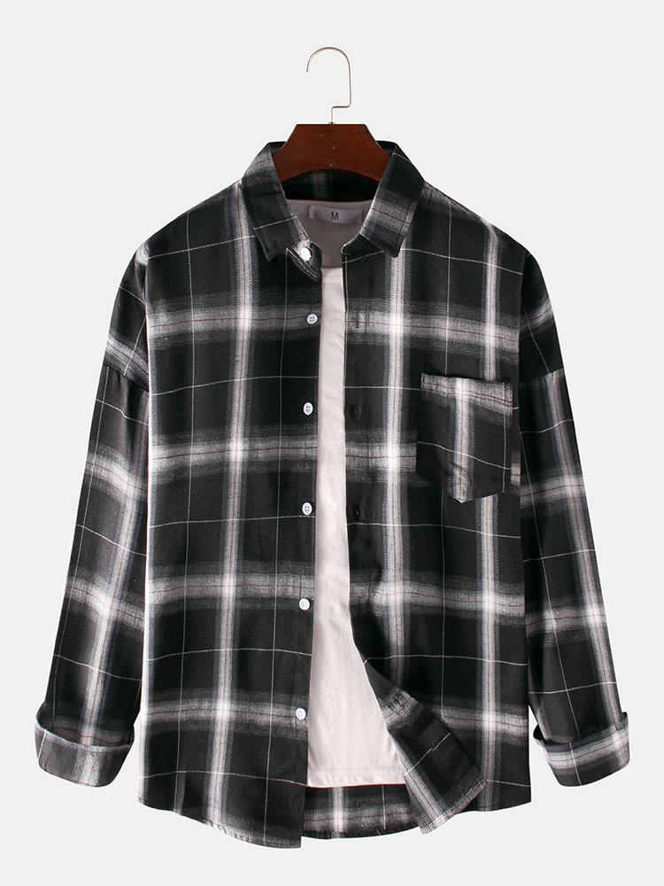 Mens Plaid Printed Pocket Turn Down Collar Long Sleeve Casual Shirts
