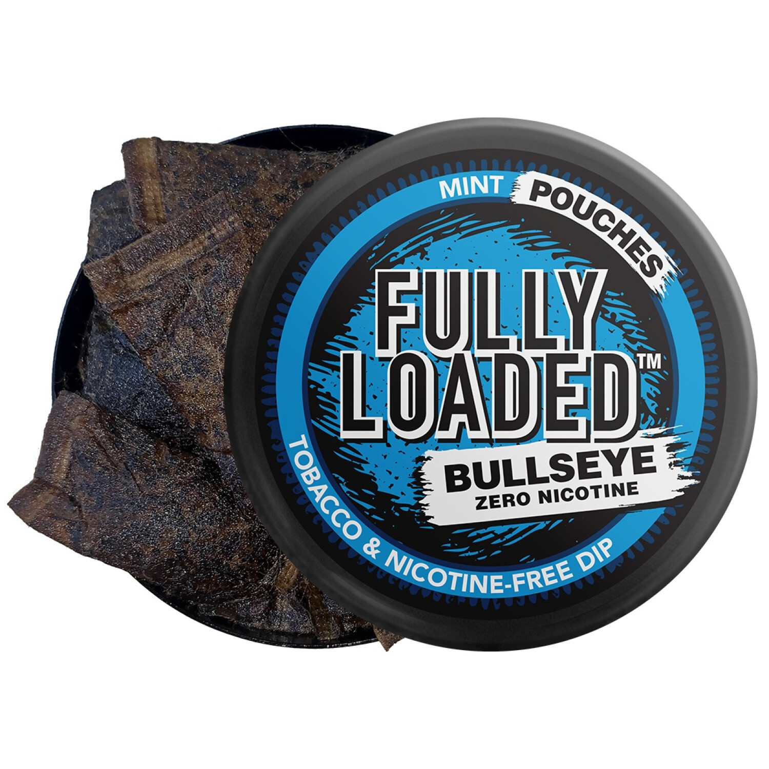Fully Loaded Chew Tobacco and Nicotine Free Mint Bullseye Pouches Bold Flavor, Chewing Alternative-5 Cans